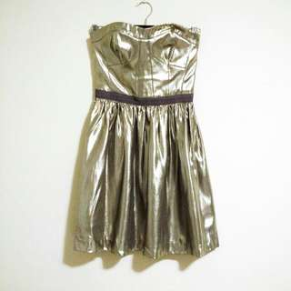 Club Monaco Silver Strapless Cupro Party Dress Size 00