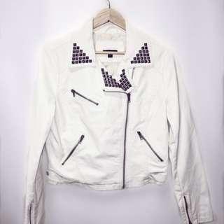 White Studded Pleather Jacket