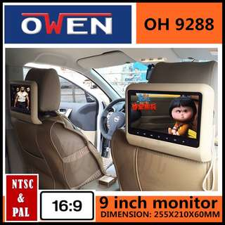 [OWEN} A pair of 9 inch Clip on Headrest Monitor