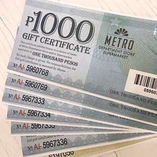 13.5k worth Metro Gaisano gift certificates for 12k only