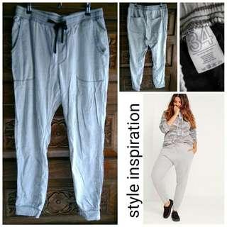 OXYGEN gray lightweight cotton jogger pants like Zara Topshop F21