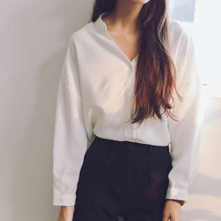 白色氣質顯瘦長袖襯衫