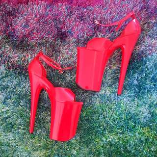 """Pleaser 9"""" INFINITY-901 Red Size US 8"""