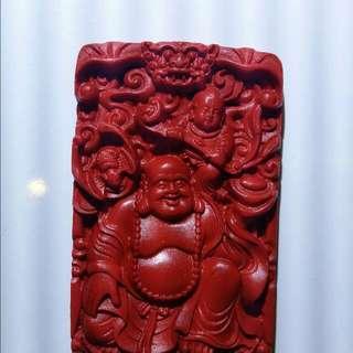 笑臉彌勒天然硃砂礦/辟邪保平安/宗教藝品
