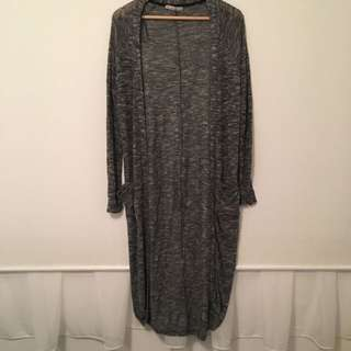 Grey Long Line Cardigan