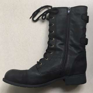 Ziera Commander Biker Boot Leather Black Size Zip Lace Up Brand New in Box Size 44 or 12