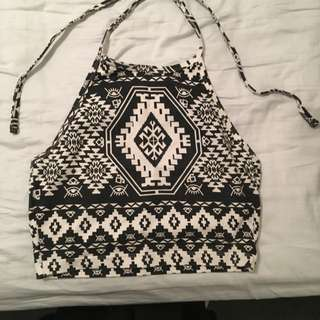 Black And White Aztec Print Crop Top