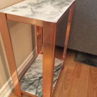 MARBLE AND ROSE GOLD SIDE TABLE- CB2