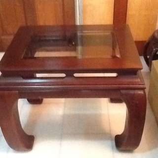2 Solid Wood Glass Top Side Tables