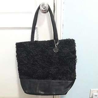 New DKNY Black Leather Shoulder Bag / Handbag