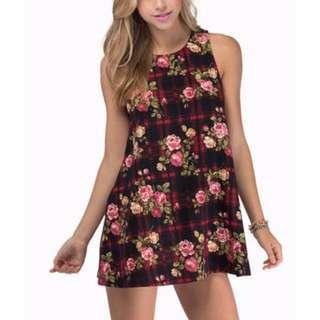 Tobi Tartanic Floral Tank Dress
