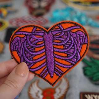 Red heart skeleton patch