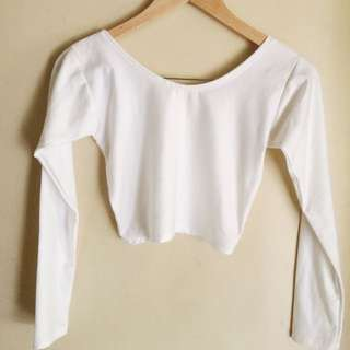 WHITE LONGSLEEVED CROPTOP