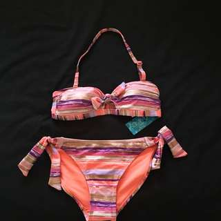 Bow Halter neck Bikini set rose gold, coral, pink , purple  size 6/8