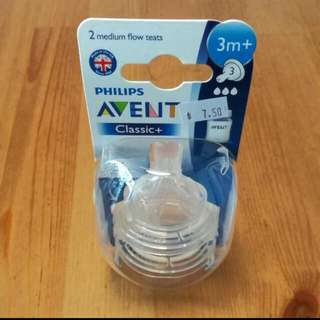 BNIB: Philips Avent Classic Bottle Nipples, 2pc