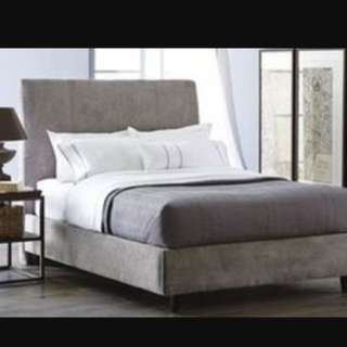 QUEEN UPHOLSTERED BED FRAME + Box Spring + Mattress