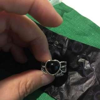 Pandora 愛心 黑瑪瑙戒指