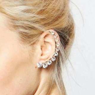 Faux Gold And Crystal Statement Ear Cuff