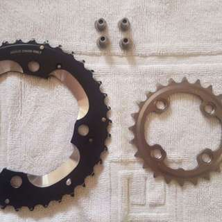 Shimano Deore XT Chainring 2x10s Bike - 38/24T with Bolts Bike Parts