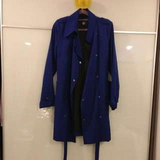 Blue Snap Button Trench Coat