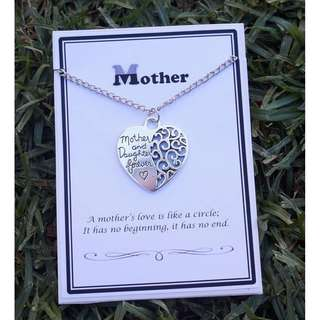 Mother & Daughter Forever Engraved Love Heart Silver Necklace - Gift For Mum
