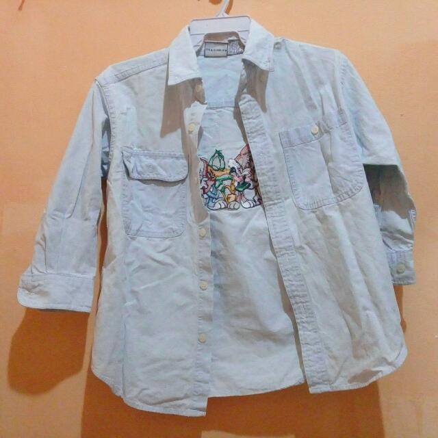 3/4 Acid White Looney Tunes button Down