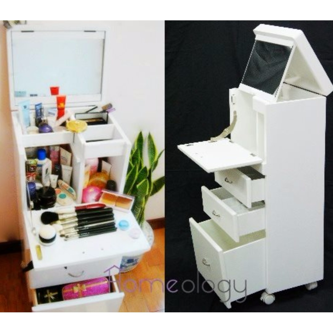 3 Colors Available Mobile Movable Makeup Organizer Dresser Cosmetic