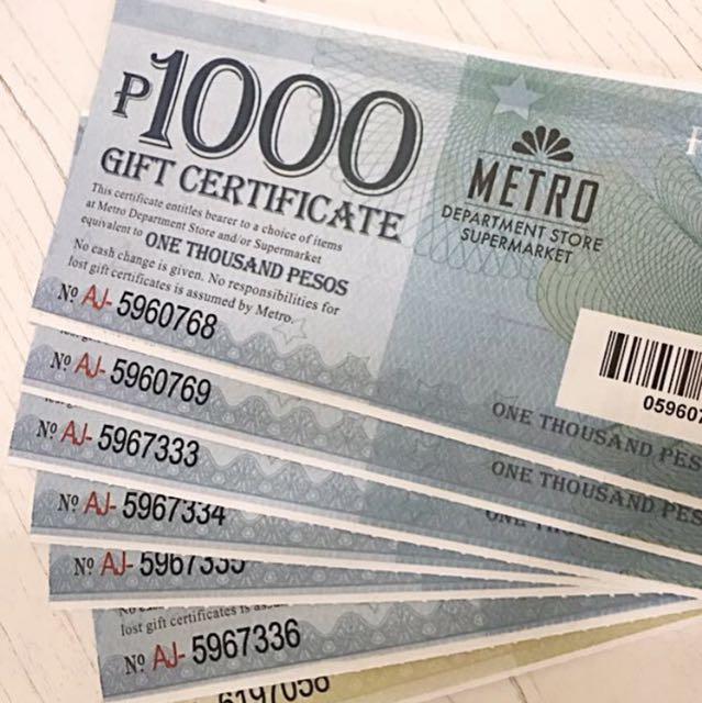 13.5k worth Metro Gaisano gift certificates for 12k only