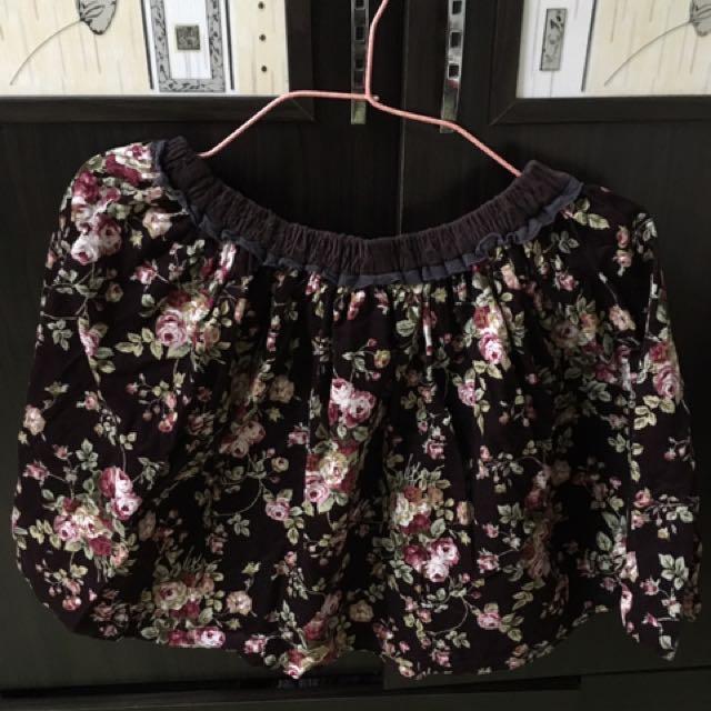 復古花短裙
