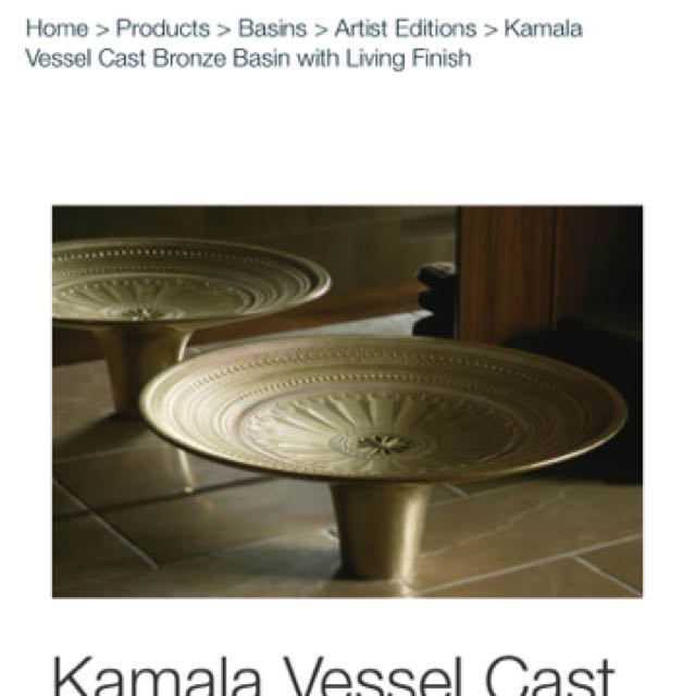Beautiful Kamala Vessel Cast Bronze Basin by Kohler RRP $8,099