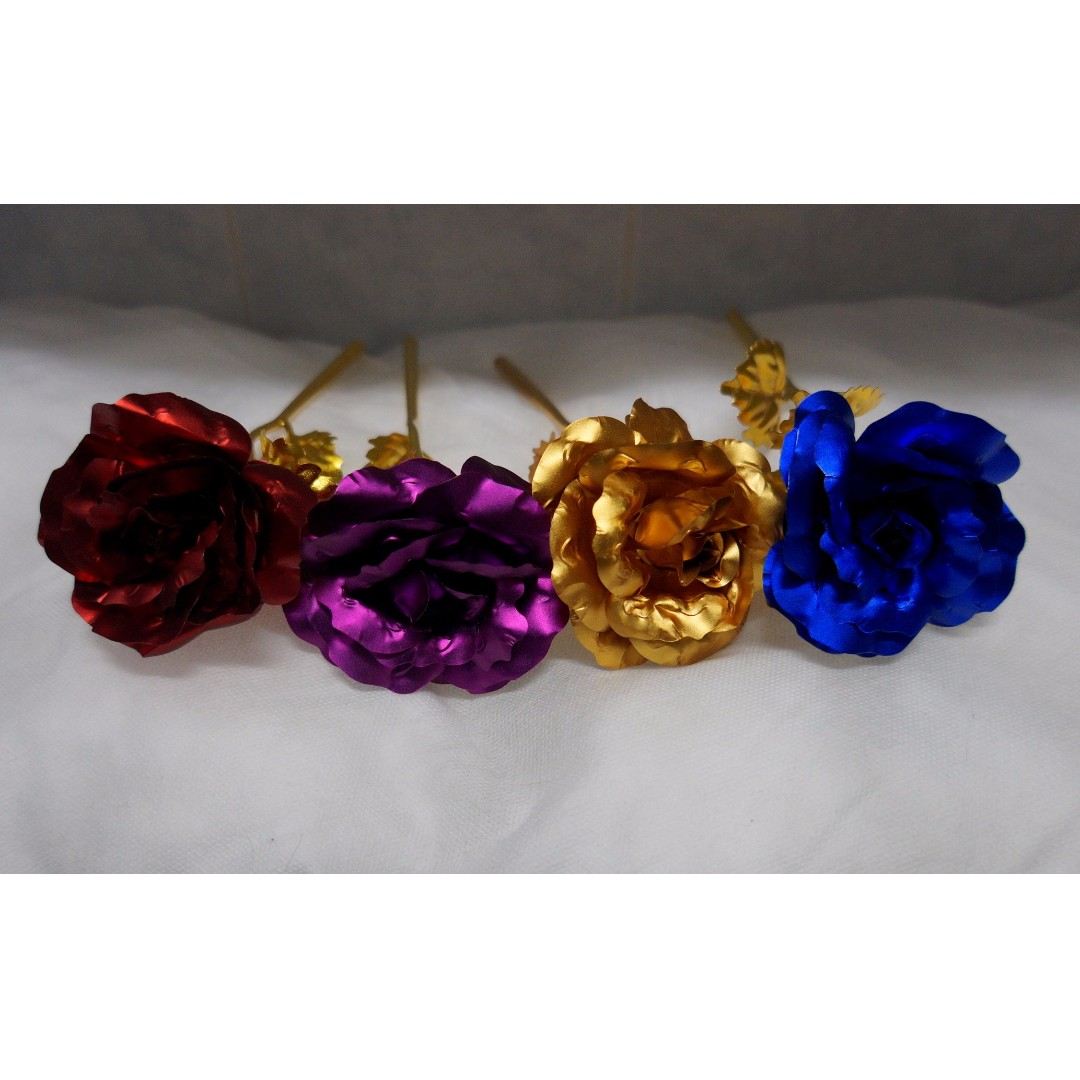 Beautiful Plastic Foil Flowers - Available in Red, Purple, Blue & Gold