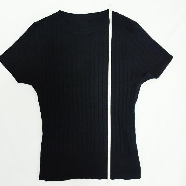 Black Mock Neck Ribbed Shirt
