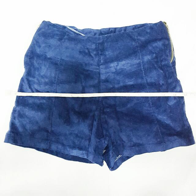 Blue Suede Highwaist Shorts
