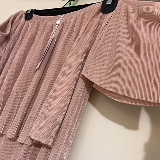 BRAND NEW Pleated Off The Shoulder Top Shimmery High Low