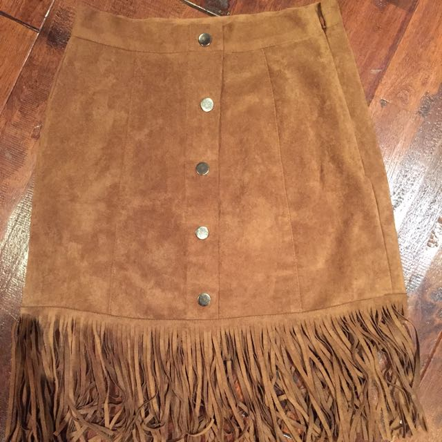 Brown Suede Skirt H-line