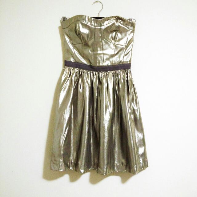 Club Monaco Silver Strapless Cupro Party Dress Size 00