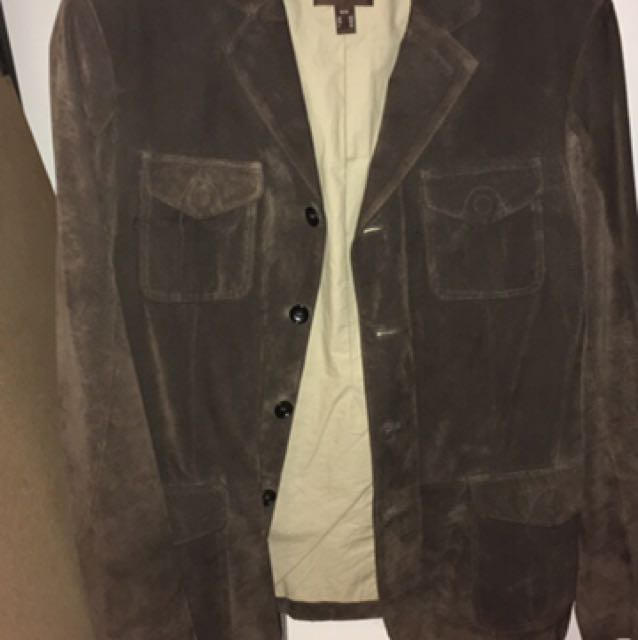 Danier Brown Suede Button Up Jacket