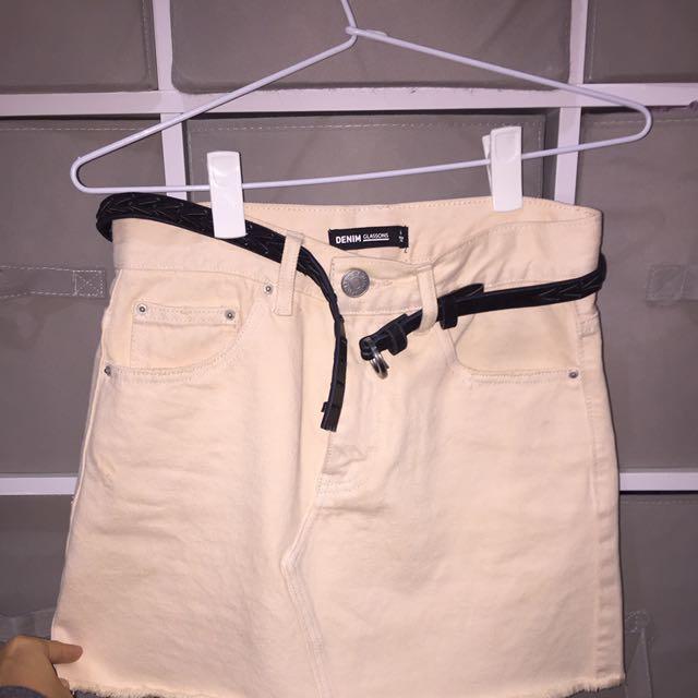 Denim Skirt Nude Colour