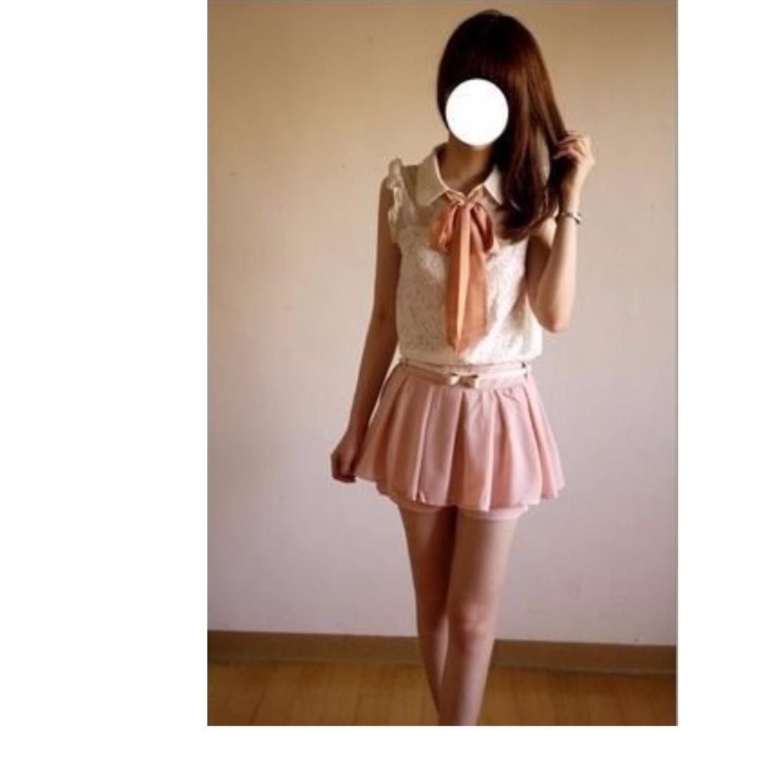 EMS Emsexcite甜美花朵蕾絲蝴蝶結領巾波浪袖無袖襯衫-粉色