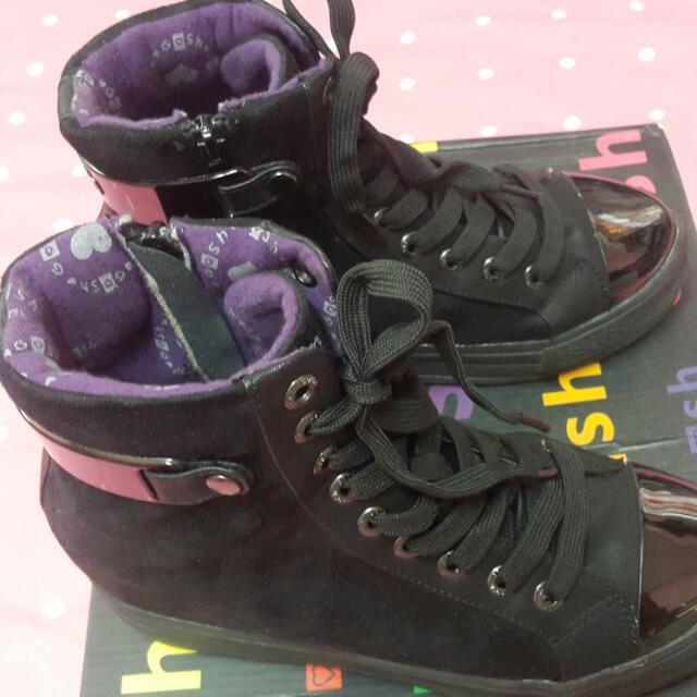 GOSH Black Sneaker Wedges