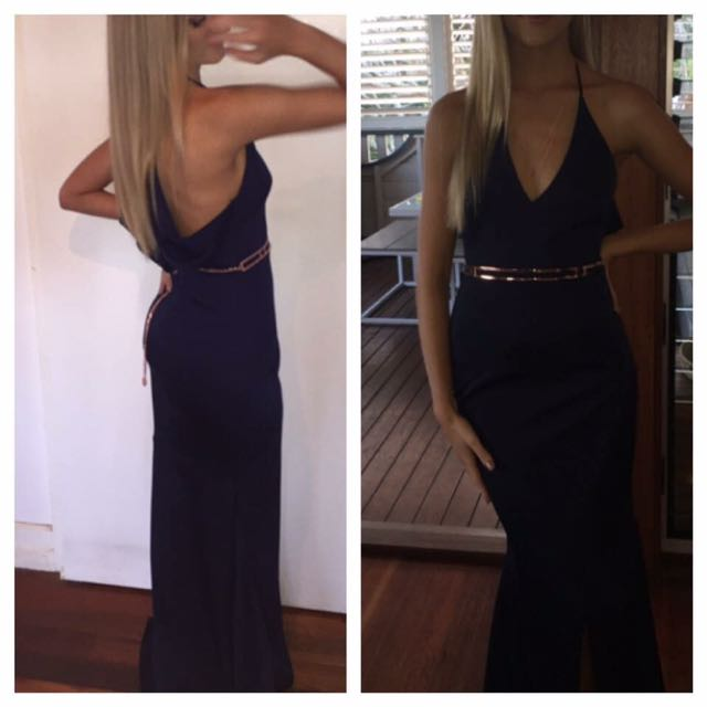 Hiring My Sheike Navy Low Cut Fitted Gown Size 6-8