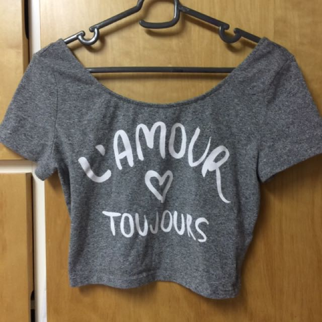 H&M Lamour Toujours Grey Crop Top