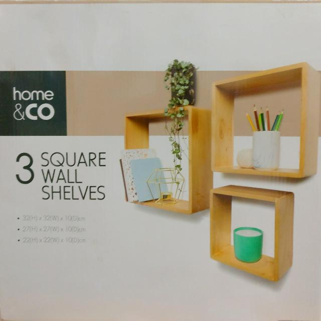 Home & CO - 3 Square Wall Shelves