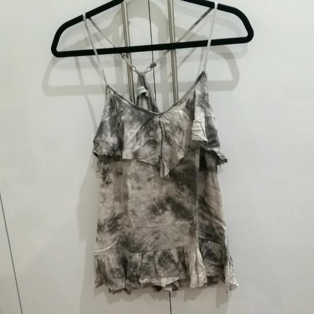 Just Jeans Ruffled Grey Tank Top Singlet