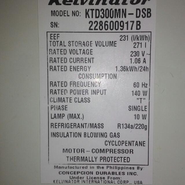 Kelvinator KTD300MN 2 door 9.6 cu ft.