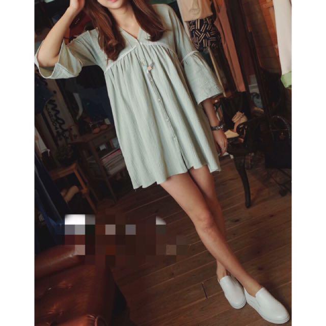 Korea 粉綠色 棉麻 洋裝 👗全新品