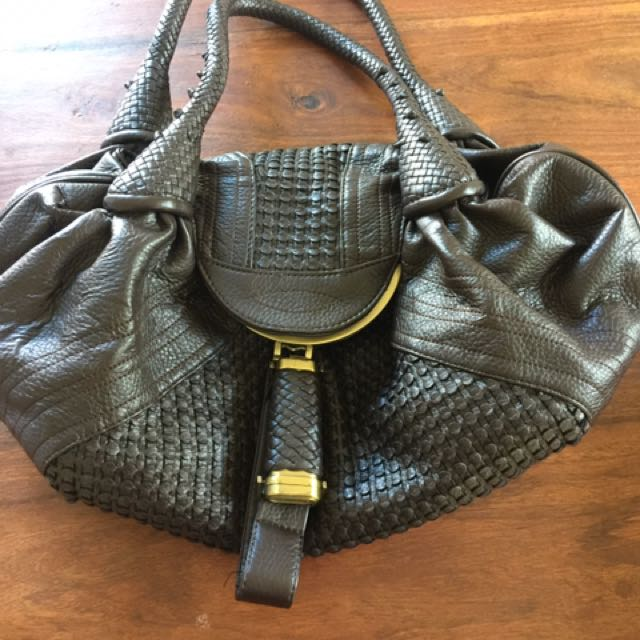 Leather Fendi Imitation Saddle Bag