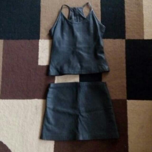 Leather Top & Mini Skirt