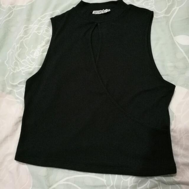 Cotton On Black Sleeveless Crop Top