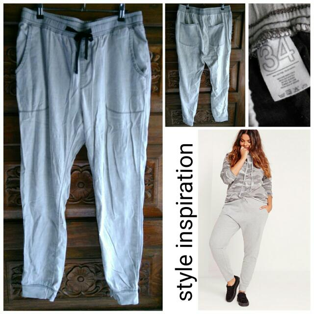 OXYGEN gray lightweight cotton jogger pants like Zara Topshop F21